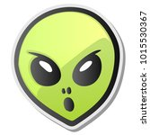 green alien face emoji sticker  ... | Shutterstock .eps vector #1015530367