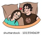sweet couple lying in bed... | Shutterstock .eps vector #1015540639