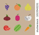 icons fruits and vegetables... | Shutterstock .eps vector #1015543231