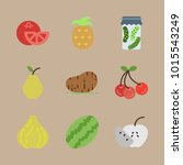 icons fruits and vegetables... | Shutterstock .eps vector #1015543249