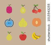 icons fruits and vegetables... | Shutterstock .eps vector #1015543255