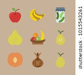 icons fruits and vegetables... | Shutterstock .eps vector #1015543261