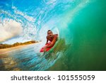 body boarder on large wave... | Shutterstock . vector #101555059