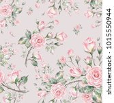 watercolor seamless rose...   Shutterstock . vector #1015550944