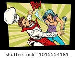 restaurant food. unhappy woman... | Shutterstock .eps vector #1015554181