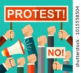 vector illustration protest... | Shutterstock .eps vector #1015558504