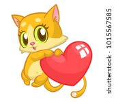 cartoon cute kitty in love and... | Shutterstock .eps vector #1015567585