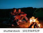 romantic weekend. couple in... | Shutterstock . vector #1015569529