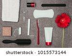 top view of arrangement of...   Shutterstock . vector #1015573144