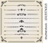 vintage set of decorative... | Shutterstock . vector #1015576315