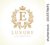 luxury e letter and crown... | Shutterstock .eps vector #1015578691