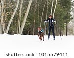 skijoring woman in forest | Shutterstock . vector #1015579411