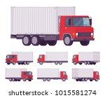 euro truck  metal container.... | Shutterstock .eps vector #1015581274
