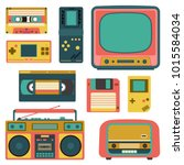 set with old retro media... | Shutterstock .eps vector #1015584034