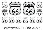 route 66 traffic sign from... | Shutterstock .eps vector #1015590724