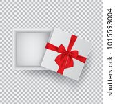 open gift box with a red bow... | Shutterstock .eps vector #1015593004