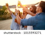 people drinking. happy friends... | Shutterstock . vector #1015593271