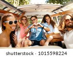 group of friends having fun ... | Shutterstock . vector #1015598224