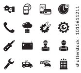 solid black vector icon set  ... | Shutterstock .eps vector #1015611211