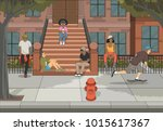 group of young people in front... | Shutterstock .eps vector #1015617367