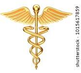golden caduceus. medical symbol.... | Shutterstock . vector #1015617859