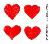 set of heart icons.grunge love... | Shutterstock .eps vector #1015624981