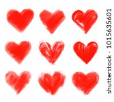 set of hand drawn hearts.... | Shutterstock . vector #1015635601