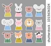vector stickers set with cute... | Shutterstock .eps vector #1015636324