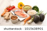 selection of health food  | Shutterstock . vector #1015638901