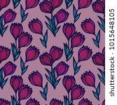 crocus flowers. floral seamless ... | Shutterstock .eps vector #1015648105