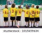 indoor soccer team. futsal... | Shutterstock . vector #1015659634