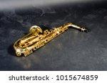 alto saxophone jazz instrument ... | Shutterstock . vector #1015674859