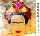 frida kahlo vector portrait ... | Shutterstock .eps vector #1015675864