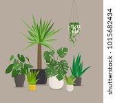 set of green indoor house...   Shutterstock .eps vector #1015682434