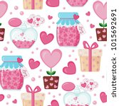 valentines day seamless pattern ... | Shutterstock .eps vector #1015692691