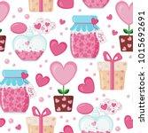 valentines day seamless pattern ... | Shutterstock .eps vector #1015692691