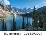 canadian rockies   moraine lake ... | Shutterstock . vector #1015693024