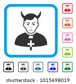 joyful devil priest vector icon.... | Shutterstock .eps vector #1015698019