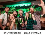 group of young people doing... | Shutterstock . vector #1015699525