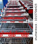 Small photo of Italy, Florence, January 2018 series of shopping carts of a Coop supermarket in Florence. Coop Cooperative is a large Italian organized distribution of food products and consumer goods