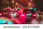 blur lights and stop signals of ... | Shutterstock . vector #1015727005