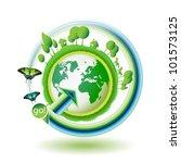green earth with butterflies on ... | Shutterstock . vector #101573125