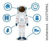 astronaut space suit equipment. ... | Shutterstock .eps vector #1015734961