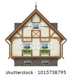 classic half timbered house.... | Shutterstock .eps vector #1015738795