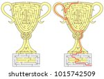 first place gold cup maze for... | Shutterstock .eps vector #1015742509