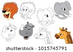 wild animals faces elements set ... | Shutterstock .eps vector #1015745791