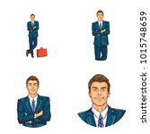 vector set of male round... | Shutterstock .eps vector #1015748659
