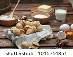 homemade cookies shaped nuts...   Shutterstock . vector #1015754851