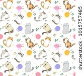 vector illustration  cats... | Shutterstock .eps vector #1015757485