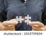 businesswoman hand connecting... | Shutterstock . vector #1015759834